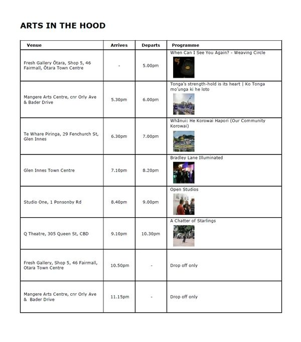 White Night Bus Schedule Arts in the Hood 8 4